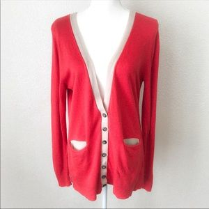 Payton Coral Button Down Long Cardigan Sweater M